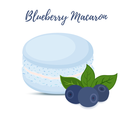 Vector blueberry macaron with meringue cream. Sweet french confectionery with berry. Delicious pastry. Made in cartoon flat style