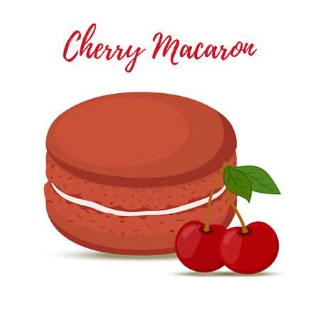 Vector cherry macaron with meringue cream. Sweet french confectionery with berry. Delicious pastry. Made in cartoon flat style
