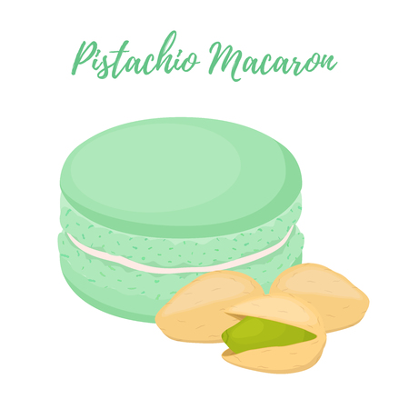 Vector pistachio macaron with meringue cream. Sweet french confectionery with nut. Delicious pastry. Made in cartoon flat style