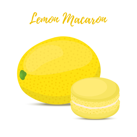 Vector lemon macaron with meringue cream. Sweet french confectionery with fruit. Delicious pastry. Made in cartoon flat style