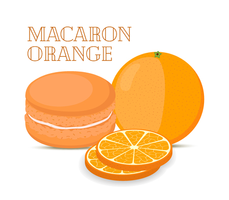Vector orange macaron with meringue cream. Sweet french confectionery with fruit. Delicious pastry. Made in cartoon flat style Illustration