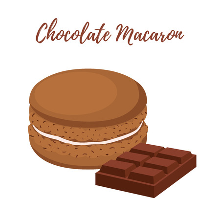 Vector chocolate macaron with meringue cream. Sweet french confectionery with cacao. Delicious pastry. Made in cartoon flat style