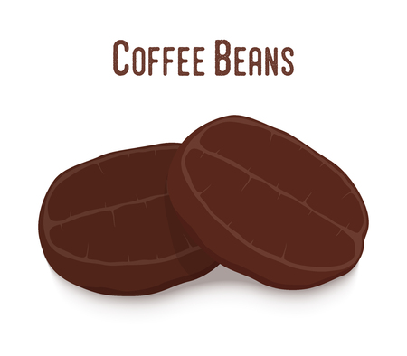 Vector coffee bean set, roasted seeds of hot drink. Organic plant - robusta. Made in cartoon flat style