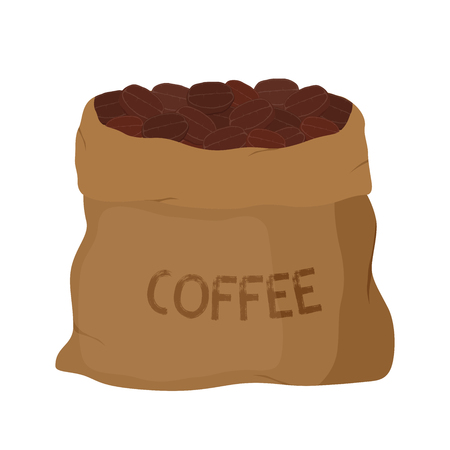 Vector brown canvas coffee bag, package for grains of aroma product. Made in cartoon flat style