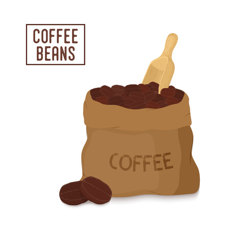 Vector brown canvas coffee bag with wooden scoop, package for grains of aroma product. Made in cartoon flat style Illustration