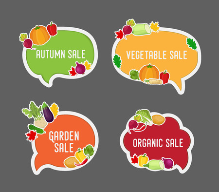 Vector garden vegetable - autumn sale in bubble speech. Bright elements for advertising poster, promo banner or voucher. Fresh organic products, natural food. Made in cartoon flat style Ilustracja