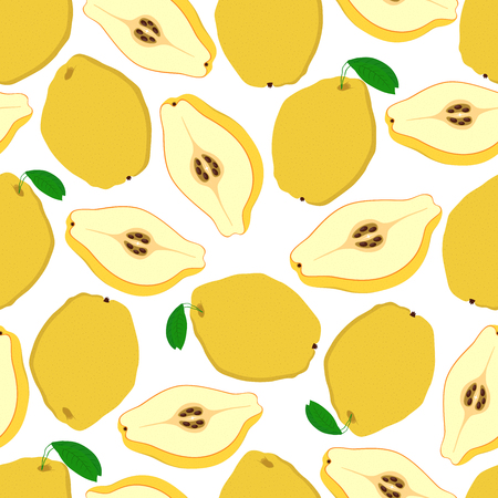 Vector seamless pattern of yellow fruit - quince. Tasty sliced food, vegetarian plant. Made in cartoon flat style. Ilustracja