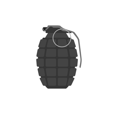 Vector hand grenade, arm weapon. Explosive dangerous thing. Object of military, army or police.