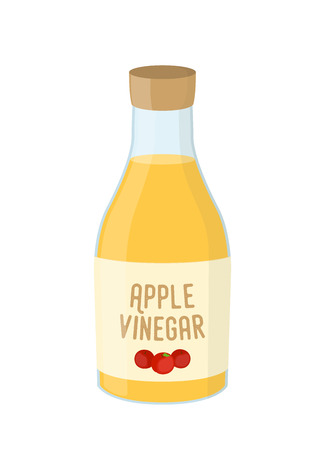 Vector cartoon bottle of apple vinegar, yellow condiment of kitchen. Sour acid in glass, natural yellow liquid. Иллюстрация
