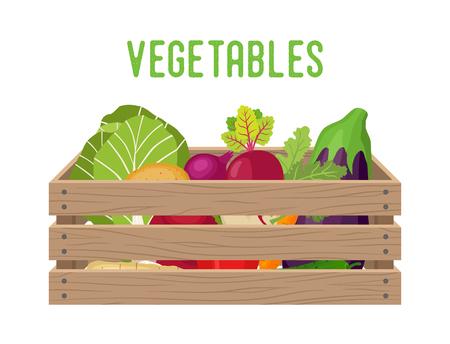 Boîte de vecteur avec légumes, panier d'épicerie avec produits de jardin. Caisse d'entrepôt. Conteneur en bois pour légumes, produits. Livraison, colis de transport. Vecteurs