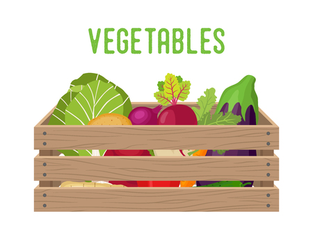 Vector doos met groenten, boodschappenmand met tuinproducten. Magazijn krat. Houten container voor groenten, producten. Levering, transportpakket. Vector Illustratie
