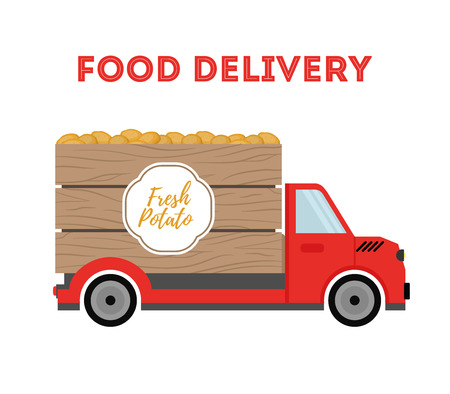 Vector food delivery - shipping of garden products - potato, organic vegetables. Cartoon car, truck with products. Wooden crate, container on vehicle.