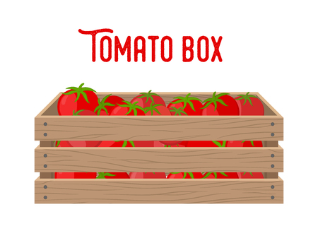 Vector box with tomatoes, grocery basket with garden products. Storehouse crate. Wooden container for vegetables, products. Delivery, transportation package. Banque d'images - 111671144