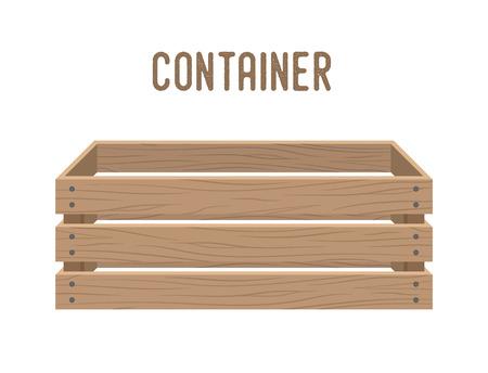 Boîte de dessin animé de vecteur, panier d'épicerie, caisse d'entrepôt. Récipient en bois vide pour légumes, produits. Livraison, colis de transport.