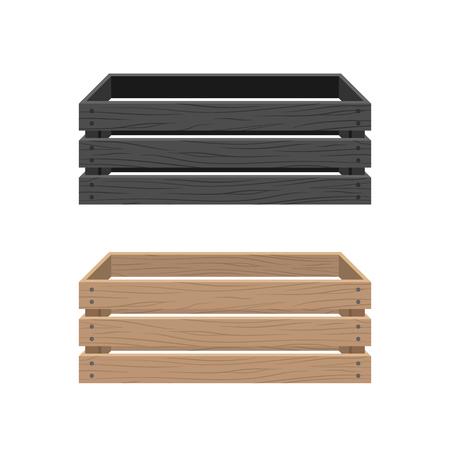 Coffret de dessin animé de vecteur, panier d'épicerie, caisse d'entrepôt. Récipient en bois vide pour légumes, produits. Livraison, colis de transport. Vecteurs