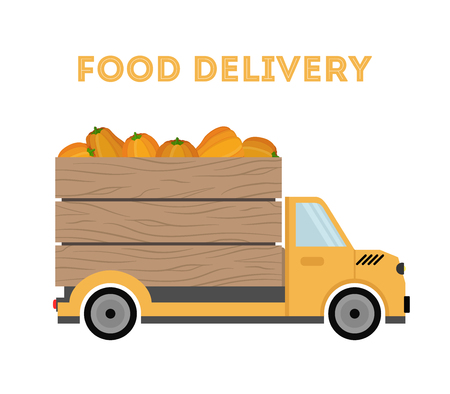 Vector food delivery - shipping of garden products - pumpkins, organic vegetables. Cartoon car, truck with products. Wooden crate, container on vehicle. Banque d'images - 110528200