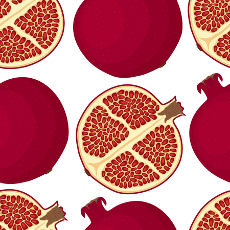 Vector red fruit - pomegranate. Juicy nutrition, tasty dessert with seeds. Natural vegetarian product.