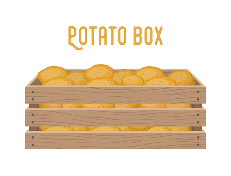Vector box with potato, grocery basket with garden products. Storehouse crate. Wooden container for vegetables, products. Delivery, transportation package. Banque d'images - 110286127
