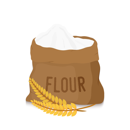 Vector canvas bag with white flour with golden ears. Organic product from cereal rye, melted grains. Healthy nutrition for bakery, pastry.  イラスト・ベクター素材