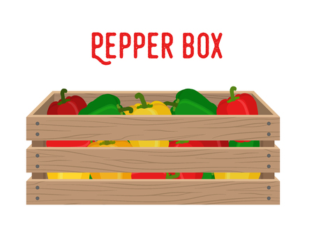 Vector box with bell pepper, grocery basket with garden products. Storehouse crate. Wooden container for vegetables, products. Delivery, transportation package. Banque d'images - 110199587