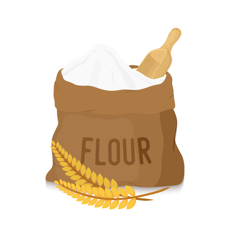 Vector canvas bag with white flour with wooden scoop, shovel and golden ears. Organic product from cereal rye, melted grains. Healthy nutrition for bakery, pastry.  イラスト・ベクター素材