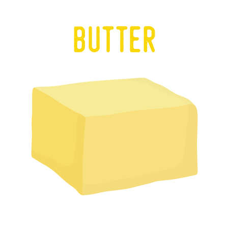 Vector yellow butter bar, organic farm nutrition. Fresh dairy milk product. Creamy healthy piece of tasty briquette.