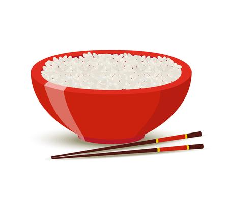Vector de arroz hervido en un tazón rojo. Comida para restaurante en estilo de dibujos animados. Plato con palillos para menú.