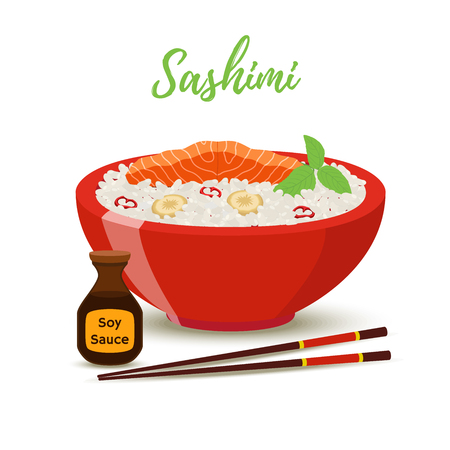 Vector Japan food in cartoon style - sashimi in red bowl with soy sauce. Salmon fish, shiso herb with rice - meal for restaurant. Wooden chopsticks , plate for menu.  イラスト・ベクター素材