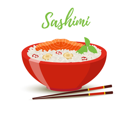 Vector Japan food in cartoon style - sashimi in red bowl. Salmon fish, shiso herb with rice - meal for restaurant. Wooden chopsticks , plate for menu.
