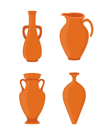 Vector pottery set - ancient greek vase, amphora, antique pitcher. Old brown earthenware in cartoon style. Ceramics bowl, urn for art studio, design elements for hobby.