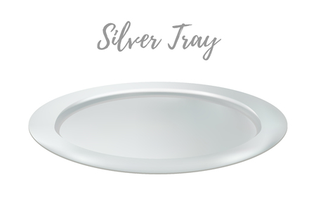 Vector 3d realistic silver tray - restaurant metallic salver. Shining chrome of tray, metallic grey platter. Kitchen flatware for food.