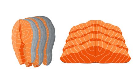 Vector conjunto de salmón - trozos de mariscos en rodajas. Pescado fresco de mar, filete de naranja. Comida gourmet en estilo de dibujos animados.