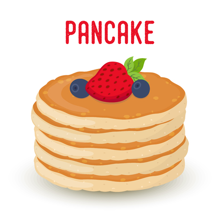 Vector cartoon pile of pancakes with berries, traditional morning food. Bakery product with strawberry, blueberry, cafe breakfast. Sweet meal, homemade dessert. Ilustração