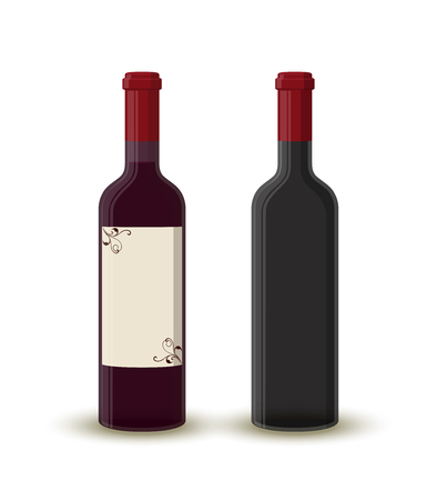 Vector cartoon wine bottles - full and empty. Transparent glass with label. Alcohol drink with shadow isolated on white background. Design of beverage.