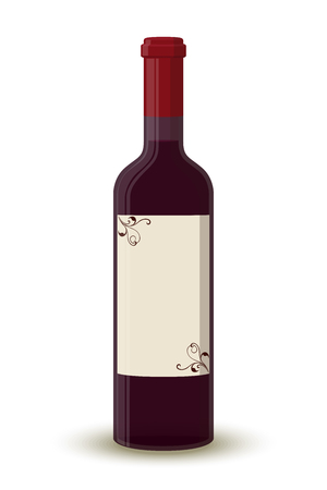 Vector cartoon wine bottle, transparent glass with label. Alcohol drink with shadow isolated on white background. Design of beverage.