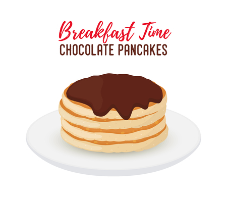Vector breakfast illustration - tasty pancakes with chocolate on white porcelain plate. Brown syrup with sweet bakery. Tasty morning meal, restaurant food. Cartoon object for menu. Illustration