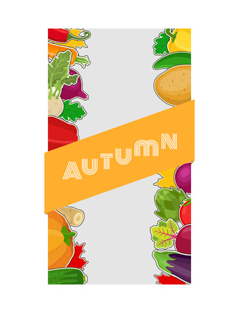 Vector vegetable label, voucher for markets or shops. Fresh organic products, natural food - potato, pepper, tomato, pumpkin, carrot. Made in cartoon flat style Illustration