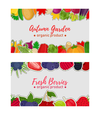 Vector vegetable and berries labels, vouchers for markets or shops. Fresh organic products fruits. Natural food - strawberry, blueberry, potato, pepper, tomato, pumpkin, carrot. Cartoon flat style