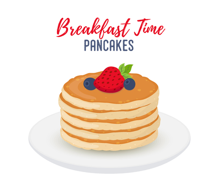 Vector breakfast illustration - tasty pancakes with berries on white porcelain plate. Fresh fruit with sweet bakery. Tasty morning meal, restaurant food. Cartoon object for menu.