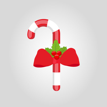 Vector set of sweet lollipop with red ribbon and holly. Christmas sugar cane, X-mas candy. Striped object, festive food isolated on white background. Illustration