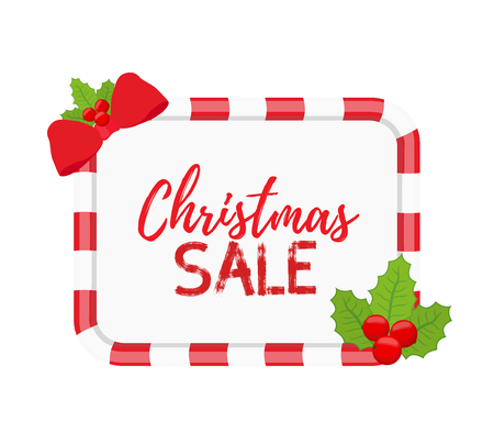 Vector Christmas frame for sale, special offers with holly. Posters for internet with green plant, web design, template, mock up of stickers, tags. Made in cartoon flat style Illustration