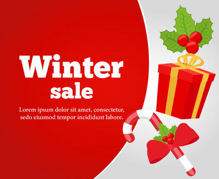 Vector Christmas sale poster, banner. Sugar cane, gift box and hollly. Decoration for discounts.