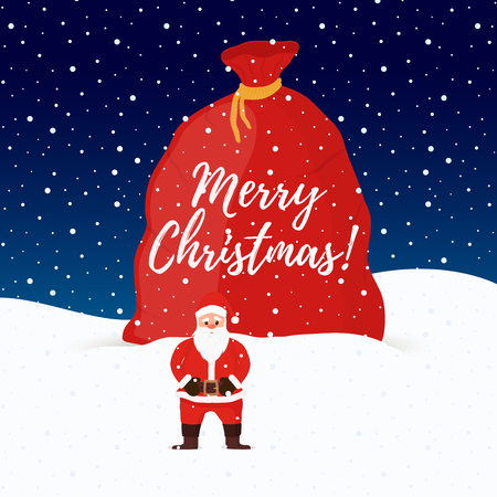 Vector cartoon Santa Claus with big sack of gifts. Man with white beard at night background for Christmas. Giant bag of presents. The traditional winter holiday.