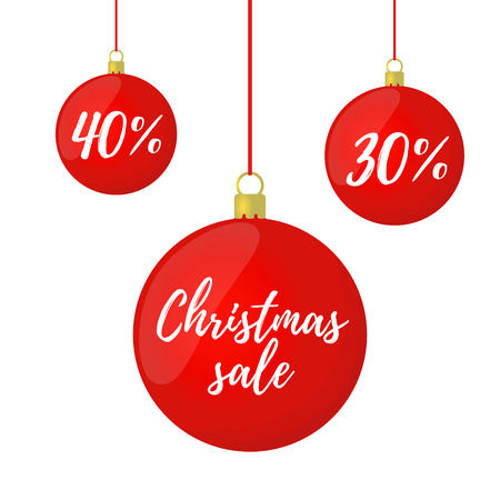 Vector Christmas sale. Glass balls with clearance for ad poster, banner. Decoration for discounts. Ilustração