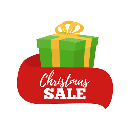 Vector cartoon Christmas sale - gift with ribbon for ad banner, promo poster. Presents box from Santa Claus. Christmas symbol in bright paper wrapping, full of toys