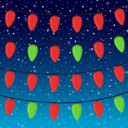 Vector cartoon bright garland isolated on night snowfall background. Shining illumination for Christmas holiday. Colorful electric bulbs on cord. Shine, illumination effect. Illustration
