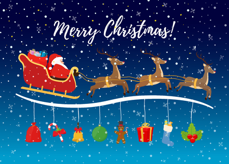 Vector Christmas background - flying sleigh with reindeers, Santa, candies, sugar cane and others for ad poster, promo banner or sale. Made in cartoon flat style.