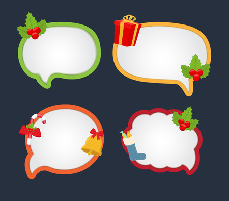 Vector cartoon bubble speech for Christmas - bright elements for dialog, communication or messages with holiday elements. Empty decorations with holly, gift box, bell Illustration