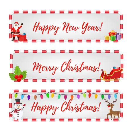Vector Christmas frames for sale, special offers with holly. Posters for internet with green plant, web design, template, mock up of stickers, tags. Made in cartoon flat style Illustration
