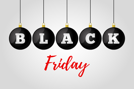 Vector black friday sale. Christmas glass balls with clearance for ad poster, banner. Decoration for discounts.